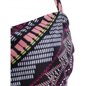 Halter Printed Plus Size Tankini - COLORMIX 2XL