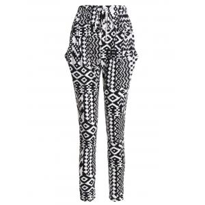 Drawstring Geometric Patterned Pants with Pockets - White And Black - Xl