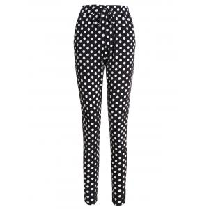 Drawstring Polka Dot Skinny Pants - White And Black - Xl