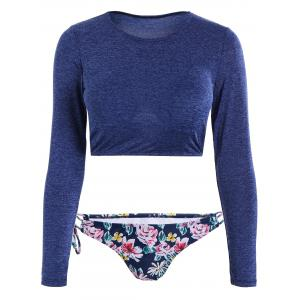 Long Sleeve Floral Two Piece Swimsuit