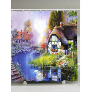 Scenic Oil Painting Fabric Shower Curtain - Colorful - W71inch*l79 Inch