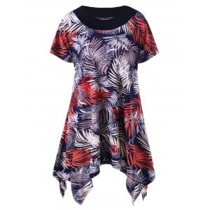 Plus Size Leaf Pattern Asymmetric T-Shirt