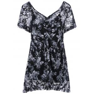 Plus Size Empire Waist Floral Blouse with Camisole - Black - Xl