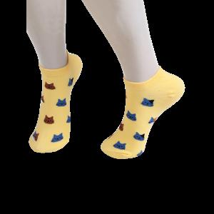 Cartoon Cat Head Embellished Loafer Ankle Socks - Yellow