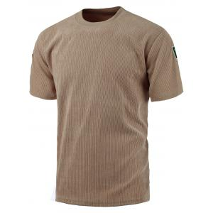 Crew Neck Plain Corduroy T Shirt