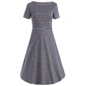 Vintage Weave Print Boat Neck Flare Dress