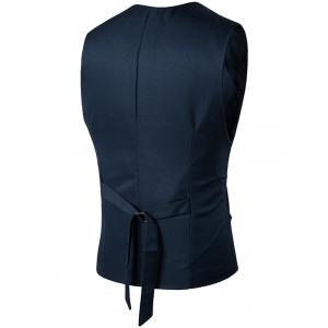 Simple boutonnage Faux Pocket Waistcoat - Bleu Cadette 2XL