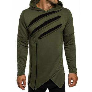 Zip Embellished Distressed Asymmetric Hoodie - Army Green - 3xl