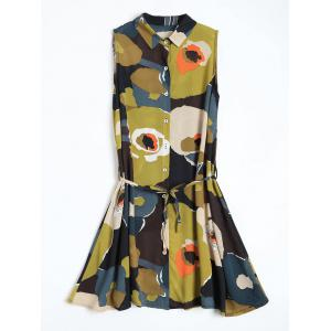 Floral Printed Mini Chiffon Sleeveless Shirt Dress