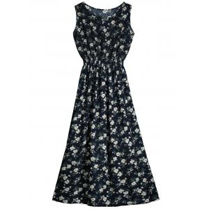 Cut Out Sleeveless Floral Print Dress