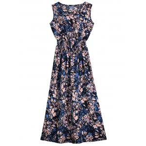 Flower Printed Sleeveless Mid Calf Dress