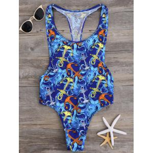 Anchor Print Color Block One Piece Swimwear