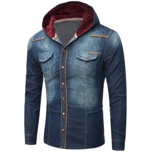 Pocket Design Hooded Denim Shirt - Cerulean - Xl