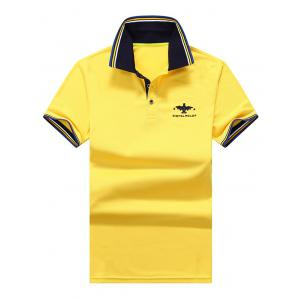 Sports Short Sleeve Polo T Shirt - Yellow - Xl