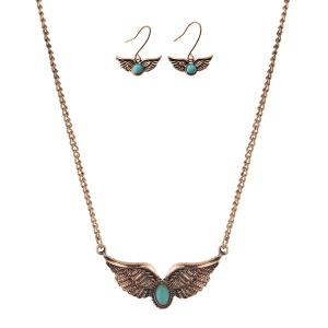 Artificial Turquoise Angel Wings Jewelry Set