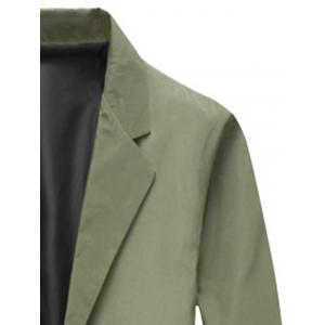 Turndown Collar Single Breasted Long Wind Coat - ARMY GREEN 3XL
