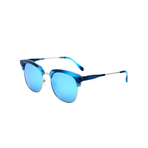 Metallic Insert Club Mirrored Sunglasses - Golden+ice Blue - 2xl