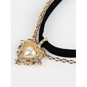Artificial Pearl Love Heart Choker Necklace - BLACK