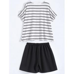 Plus Size Striped T-Shirt With Shorts - BLACK 2XL