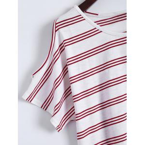 Plus Size Striped T-Shirt With Shorts - RED 2XL