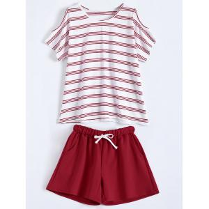Plus Size Striped T-Shirt With Shorts