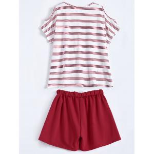 Plus Size Striped T-Shirt With Shorts - RED 5XL
