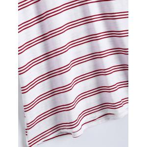 Active Plus Size V Neck Stripe T-shirt avec Shorts - Rouge 5XL