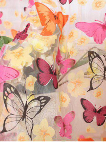Latest Butterfly Print Voile Curtain For Balcony Bedroom - W54 INCH* L95 INCH COLORFUL Mobile
