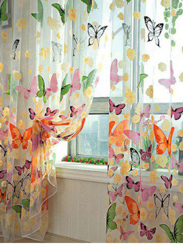 Chic Butterfly Print Voile Curtain For Balcony Bedroom COLORFUL W42 INCH* L95 INCH