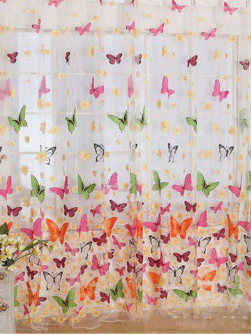Latest Butterfly Print Voile Curtain For Balcony Bedroom - W42 INCH* L95 INCH COLORFUL Mobile