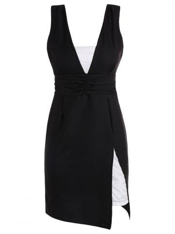 Chic Backless Low Cut Slit Sleeveless Dress