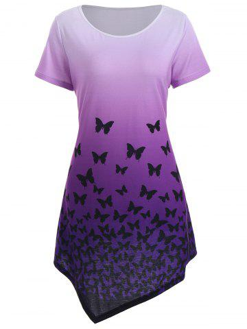Shops Asymmetrical Butterfly Longline Ombre Tunic Top PURPLE S