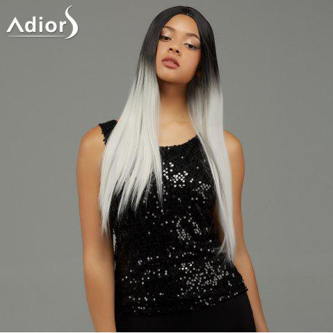 Adiors Long Straight Gradient Middle Part Synthetic Wig - Colormix