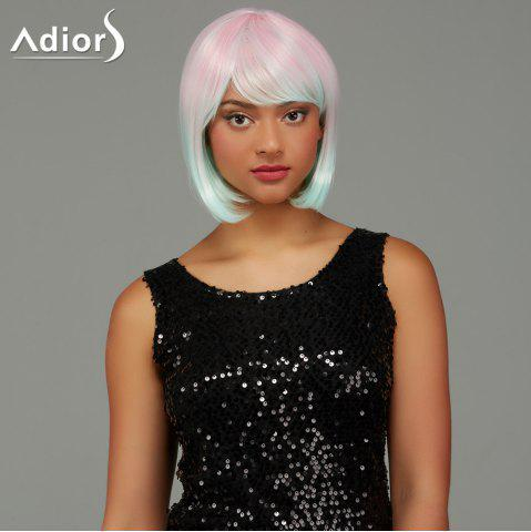 Trendy Adiors Short Bob Straight Gradient Side Bang Party Synthetic Wig - COLORMIX  Mobile