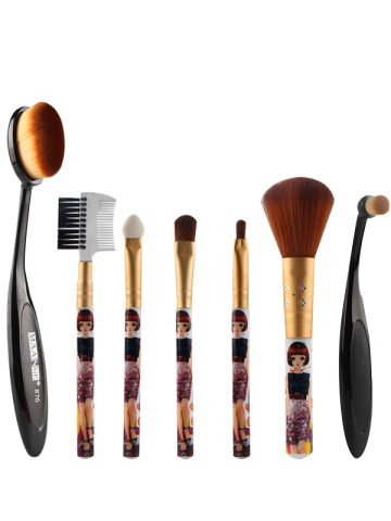Shop 7 Pcs Nylon Makeup Brushes Set BLACK