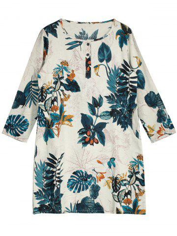 Fancy Mini Landscape Print Shift Dress