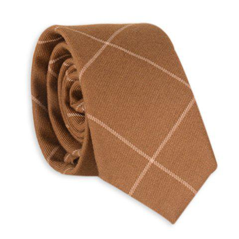 Discount Checked Anti Wrinkle Neck Tie - LIGHT COFFEE  Mobile