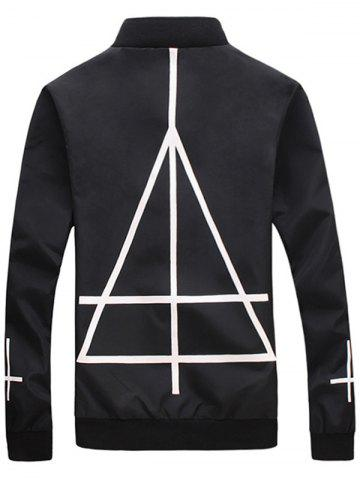 Store Cross Geometric Print Stand Collar Zip Up Jacket - L BLACK Mobile