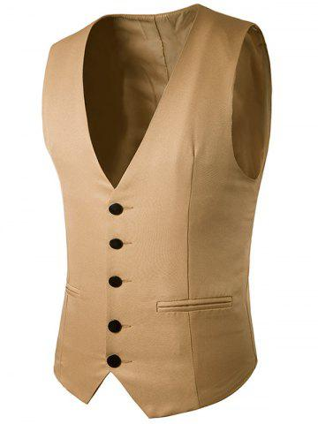 Simple boutonnage Faux Pocket Waistcoat