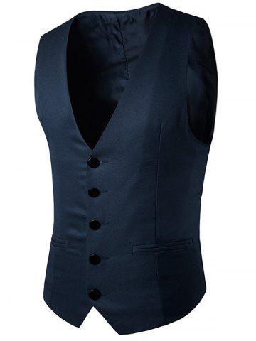 Simple boutonnage Faux Pocket Waistcoat Bleu Cadette 2XL