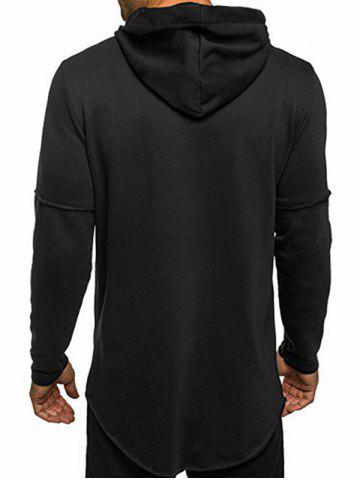 Latest Zip Embellished Distressed Asymmetric Hoodie - L BLACK Mobile