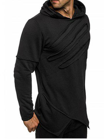 Chic Zip Embellished Distressed Asymmetric Hoodie - L BLACK Mobile