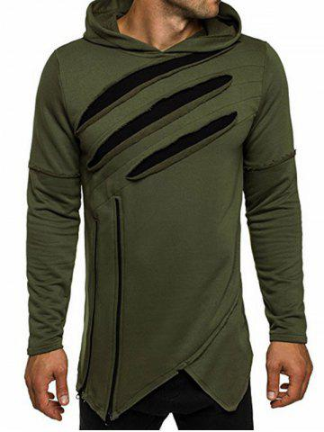 Trendy Zip Embellished Distressed Asymmetric Hoodie - 3XL ARMY GREEN Mobile