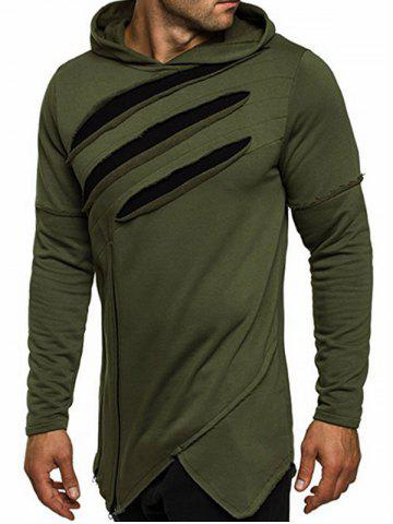 Outfit Zip Embellished Distressed Asymmetric Hoodie - 2XL ARMY GREEN Mobile