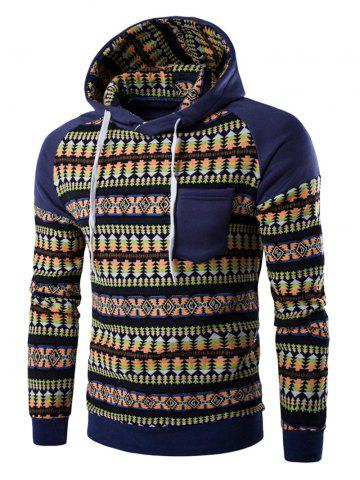 Latest Pocket Design Tribal Print Hoodie - L DENIM BLUE Mobile