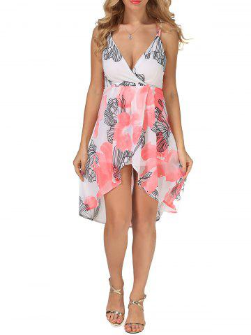 Floral Print High Low Slip Dress