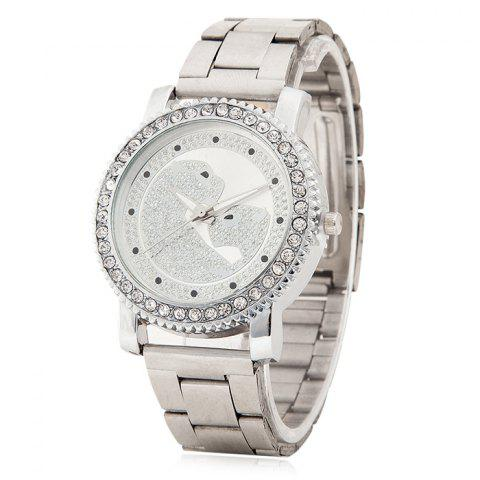 Rhinestone Leopard Pattern Quartz Watch - Silver