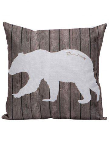 Best Polar Bear Wood Printed Pillow Case - 45*45CM BROWN Mobile