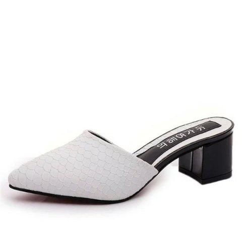 Fish Scale Patterns Block Heel Slippers - WHITE 38