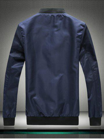 New Stand Collar Embroidered Appliques Zip Up Jacket - 3XL BLUE Mobile